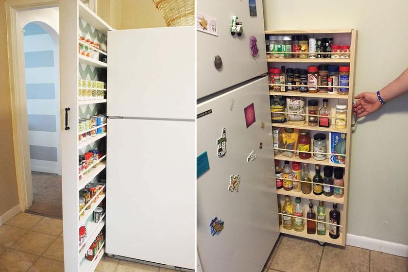 Ha van egy kis hely a fal és a hűtő vagy két szekrény között, egy hasonló, gurulós polcon sok mindent tárolhatsz: szószokat, konzerveket, fűszereket, és használat után a sok holmi azonnal el is tűnik szem elől.