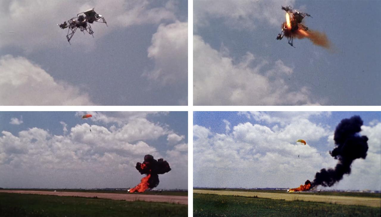 Az Apollo-programban két LLRV épült, és ahogy a film hűen ábrázolja, Armstrong kis híján életét vesztette az 1968. május 6-i tesztrepülés során. Az LLRV-1, amivel repült műszaki hiba miatt hirtelen irányíthatatlanul oldalára dőlt és zuhanni kezdett. Armstrongnak a másodperc törtrésze alatt döntenie kellett, és meghúzni a katapult fogantyúját. A baleset vizsgálata során kiderült, hogy ha egy pillanatot is késlekedik, az ejtőernyője nem tudott volna időben kinyílni. A balesetről filmfelvétel is készült, a fenti négy kocka a szerencsés kimenetelű baleset négy pillanatát örökítik meg.