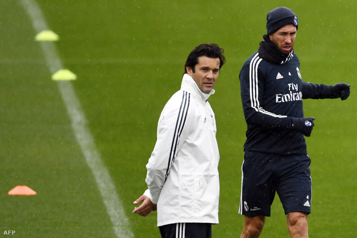 Solari első edzésén, Sergio Ramos mellett, kedden