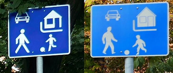 Sem színre, sem ábrázolásban nem egyeznek meg a közutakra kihelyezett táblák.