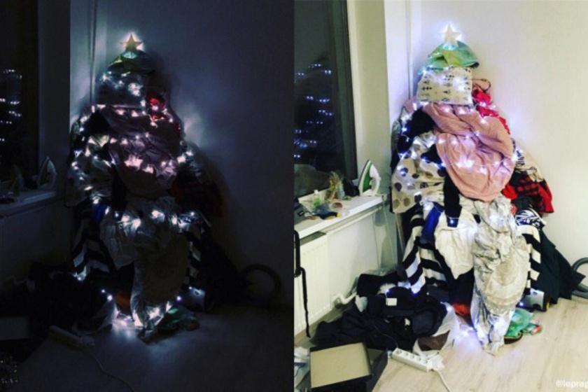 Ne stresszelj rá, hogy nem volt időd beindítani a mosógépet: egy pár fénysor, és sötétben hangulatos is lesz a ruhahegy.