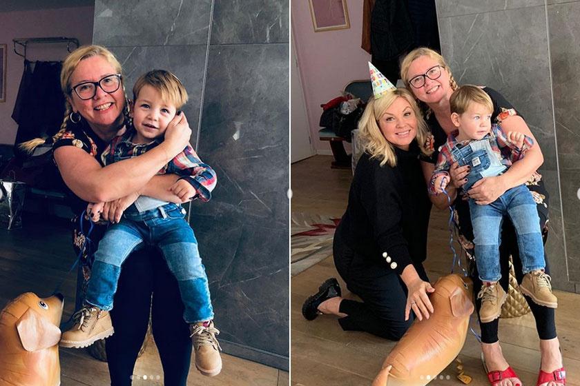 - Marci egy hét múlva 2 éves lesz. Van egy csodás pótcsaládunk benne keresztanyuval. Na ők már nem bírták kivárni - írta Liptai Claudia a kis Marci fotóihoz.