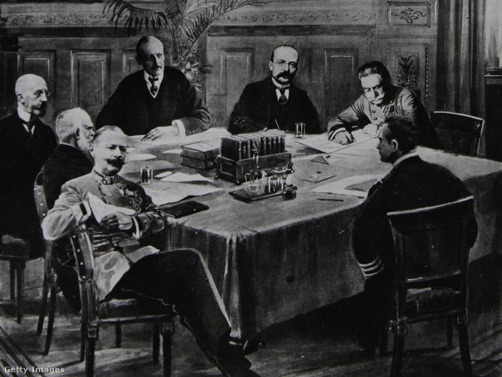 Kabinet találkozó 1914. július 16-án. Baloldalt az osztrák miniszterelnök Karl Stuergkh, háttérben a külügyminiszter Leopold Berchtold, mellette a magyar miniszterelnök Tisza István és a vezérkar vezetője Conrad von Hötzendorf.