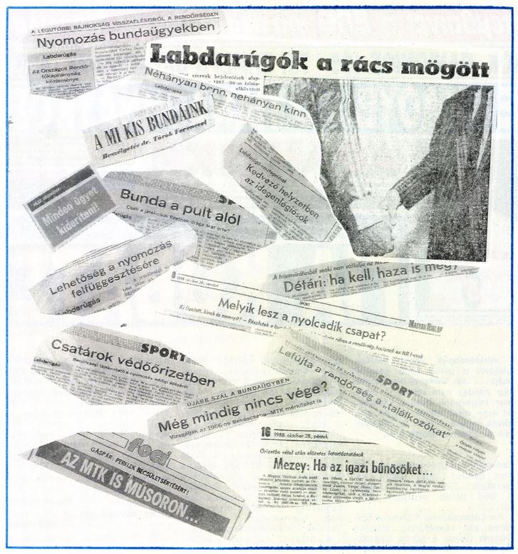 A bundabotrányról szóló cikkek címeiből összevágott kollázs a a Képes Sport 1989 november 15-i számában