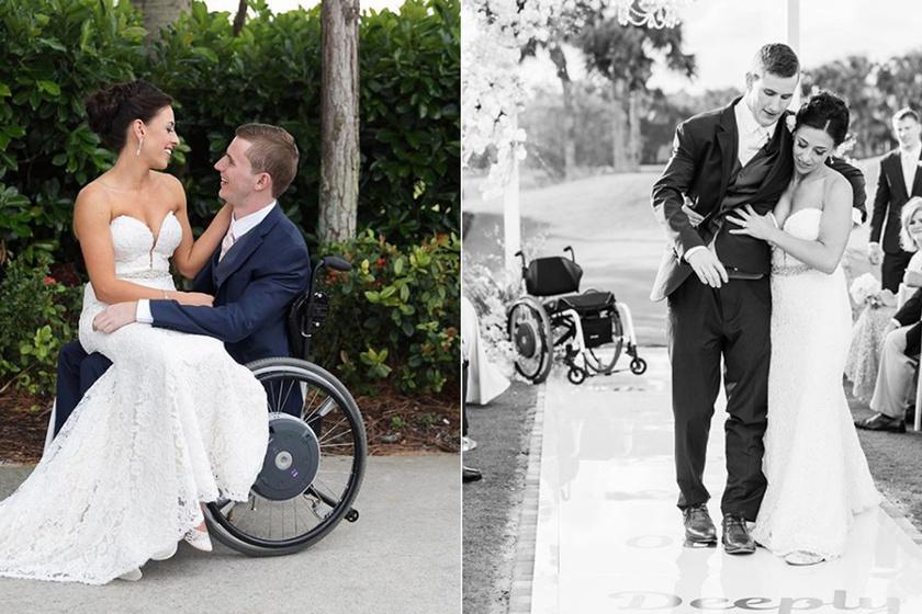 7 évig volt kerekesszékben, esküvőjén felállt a vőlegény - Videó az oltárhoz vezető útról