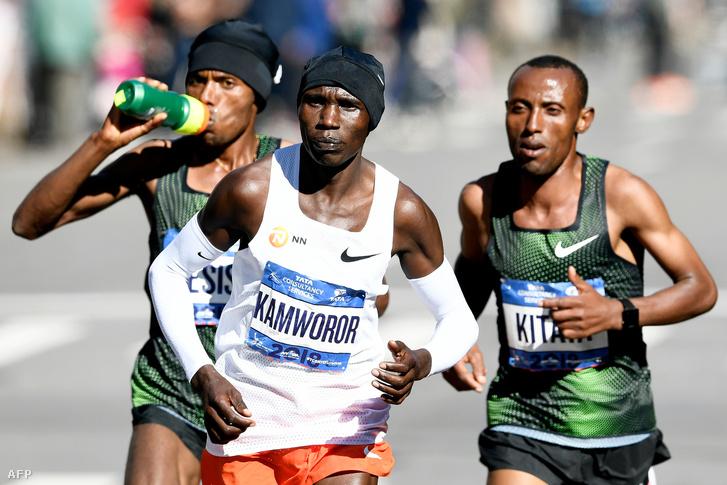 Desisa, Kamworor és Kitata a New York Marathonon