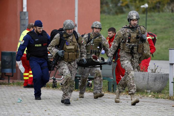 Képünk Illusztráció! Egy imitált robbantásos terrortámadás szimulált sérültjét viszik hordágyon a Magyar Honvédség és a Terrorelhárítási Központ (TEK) közös gyakorlatán Szolnokon 2016. október 25-én.