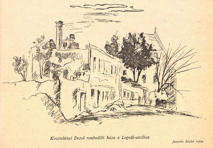 A Tábor utcai ház homlokzatáról egyetlen fotó sem maradt, ez a rajz is csak romjaiban mutatja. Forrás: Diarium 1947 2. szám / Arcanum adatbázis