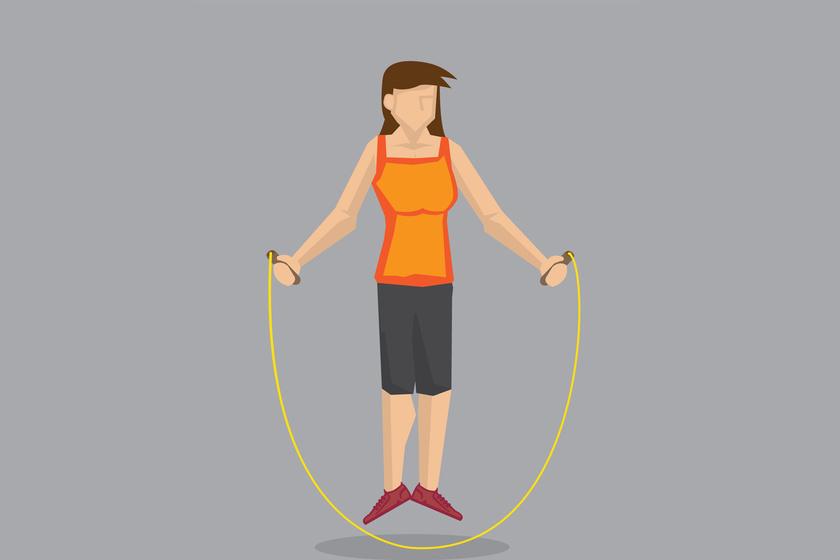 Az első gyakorlat 3 perc egyszerű páros lábon ugrálás. Ha megakad a kötél, ne kezdd újra a számolást, folytasd tovább, mintha mi sem történt volna.