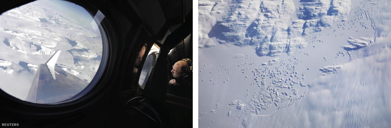 Balra: Eric Ianson, a NASA bolygókutató repüléseinek programigazgatója a repülőgép ablakából szemléli a grönlandi hó- és jégmezőket, miközben az OMG projekt klímakutatói a repülőgép műszereivel a jégréteg olvadásáról gyűjtenek adatokat (2018. március 13.) Jobbra: egy gleccser végpontja Grönland keleti partjainál.