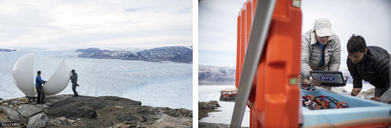Balra: Brian Rougeux biztonsági tiszt és Febin Magar egyetemi hallgató radarkupolát szerelnek össze a Helheim-gleccser közelében kialakított kutatótáborban (2018. június 20.). Jobbra: David Holland óceánkutató és Febin Magar egy szeizmográf adatait figyelik a gleccsertáborban.
