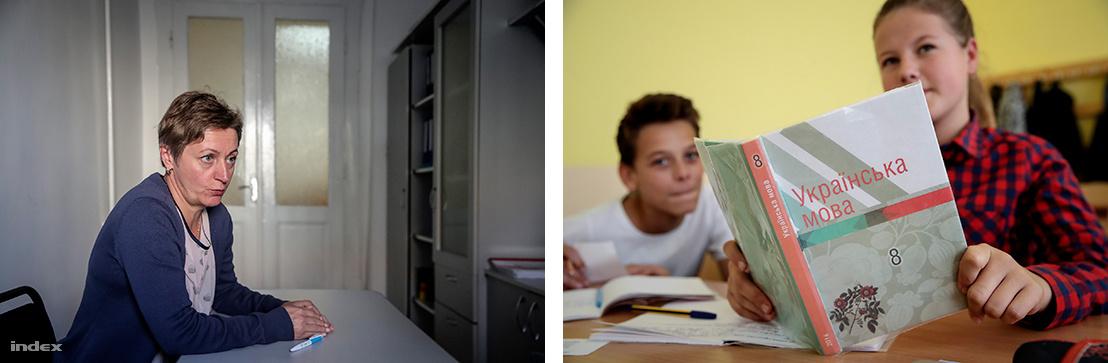 Bal: Babják Edit, a beregszászi városi tanács oktatási osztályvezetője. - Jobb: Ukrán nyelvkönyv egy tanuló kezében a beregszászi iskolában