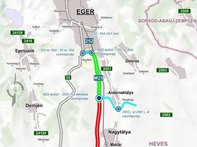 M25-ös autóút északi ütemét (zöld színnel jelölve) adták át