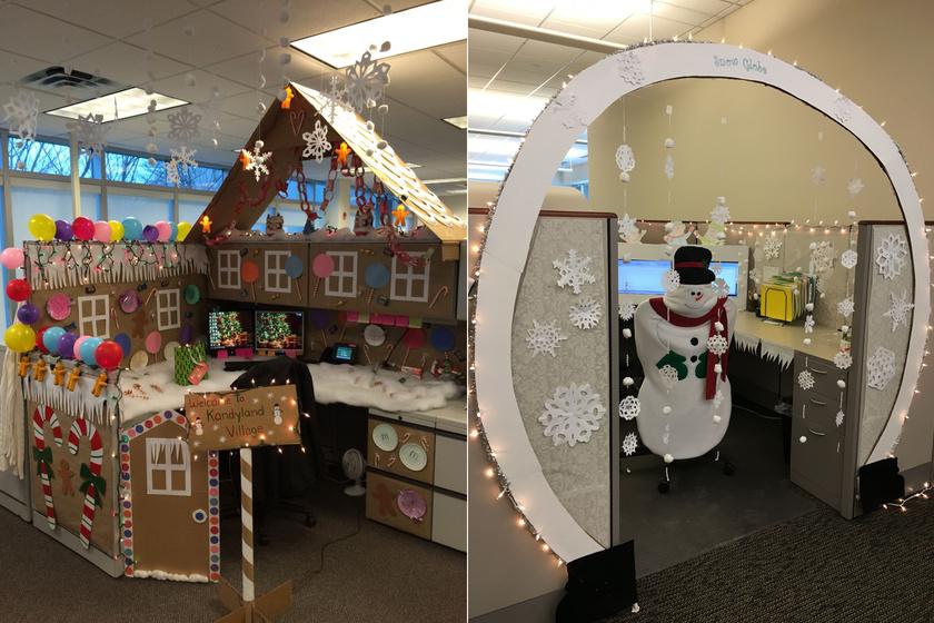 Ezekben az irodákban mindenki karácsony mániás: külön versenyt hirdetnek évről évre, ki téliesíti legjobban íróasztalát.