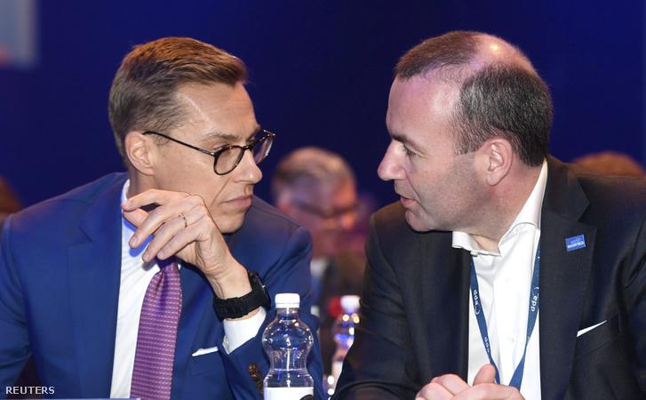 Alexander Stubb és Manfred Weber az Európai Néppárt (EPP) kétnapos kongresszusán 2018. november 7-én Helsinkiben.
