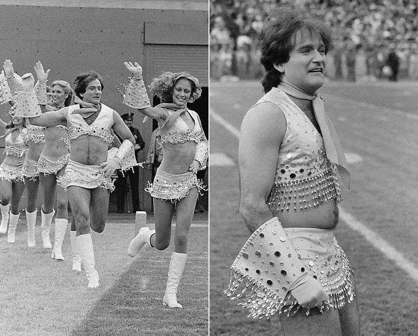 Robin Williams pomponlányként a Denver Broncos meccsén.