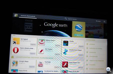 Az ajánlatból 8 alkalmazás már fent van a gépen, de erről egy szót sem szól az Android Market.