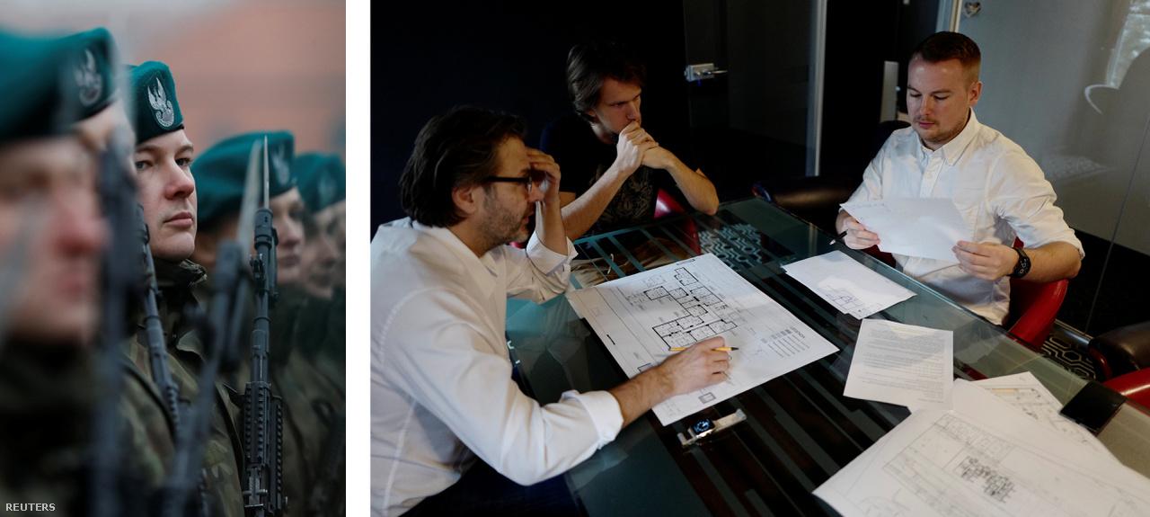Bal: Krasnodebski a Területvédelmi Erők beavatási ceremóniáján.                          Jobb: Krasnodebski a főnökével egy meetingen mielőtt elkezdené a 16 napos alapkiképzését a Területvédelmi Erőknél.