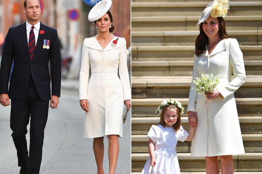 A krémszínű, kabátszerű ruhát eddig négy alkalommal viselte: ez volt rajta Charlotte hercegnő keresztelésén, a királynő 2016-os születésnapján, egy belgiumi látogatáson, valamint Harry és Meghan Markle 2018-as esküvőjén.