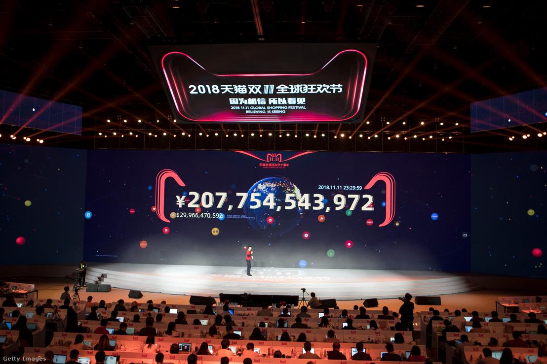 Alibaba online bolthálózat a szinglik napján 213,5 milliárd jüan (30,8 milliárd dollár) forgalmat produkált 2018. november 11-én