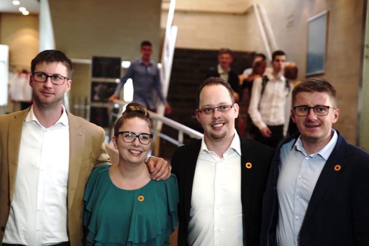 Böröcz László, Jakab Jácint, Hack Angelika és dr. Vincze Géza a Fidelitas XIV. Tisztújító Kongresszusán Székesfehérváron, 2017. május 20-án.