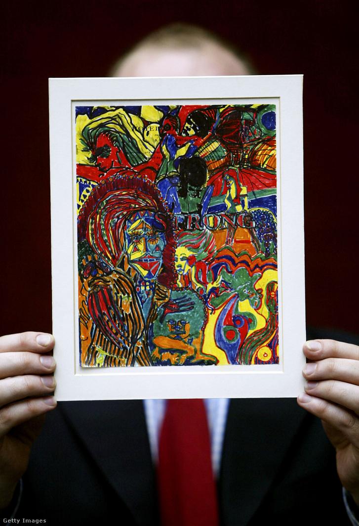 John Lennon Strong című notesz rajza londoni aukción 2004. március 26-án. A rajzot vélhetően Lennon LSD hatása alatt készítette