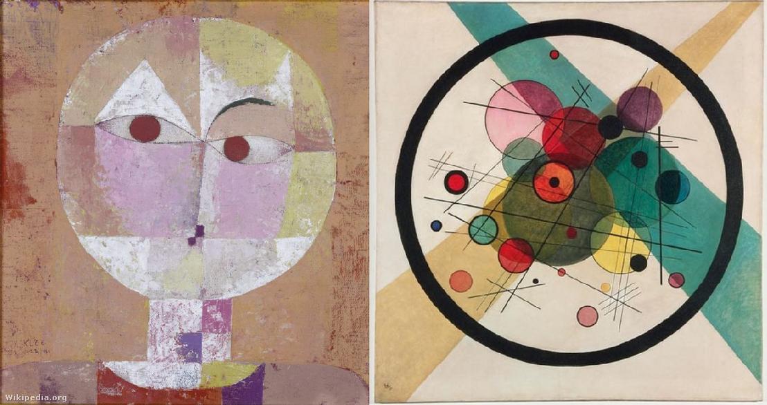 Paul Klee: Senecio, 1922. és Vaszilij Vasziljevics Kandinszkij: Körök egy körben, 1923. A két világhírű festő alkotásai azokból az évekből, amikor a Bauhaus mesterei voltak