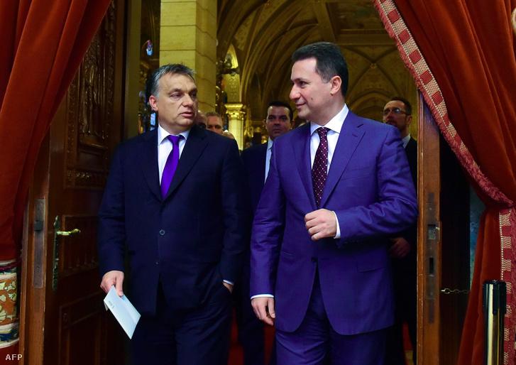 Nikola Gruevszki és Orbán Viktor a parlamentben 2015. november 20-án