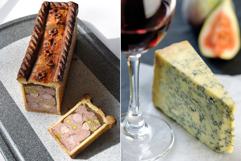 Az előétel könnyű tésztába töltött libamáj és Stilton sajt, amit némi portói borral meglocsolva kennek sós kekszekre.