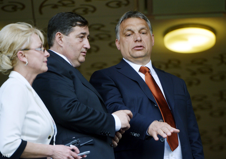 Mr. Mészáros and Prime Minister Viktor Orbán at the Pancho Arena opening ceremony, Hungary, Felcsút, on April 21, 2014