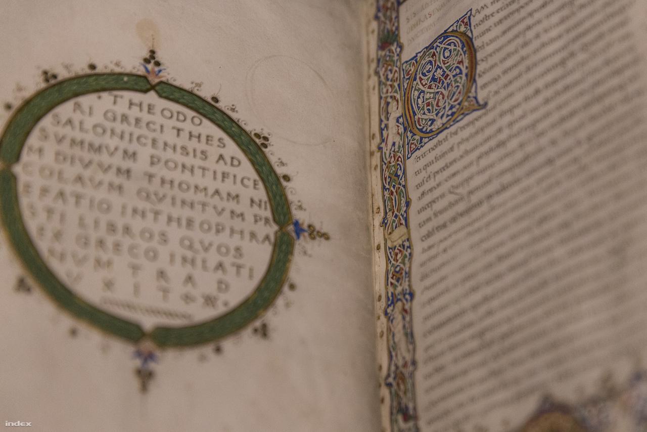 Theophrastus: A növények története, a növények okai (Firenze, 1450). Az  ókori athéni filozófus műveivel a botanika alapjait teremtette meg, remek példája Mátyás széles látókörű könyvtárgyarapító tevékenységének.
