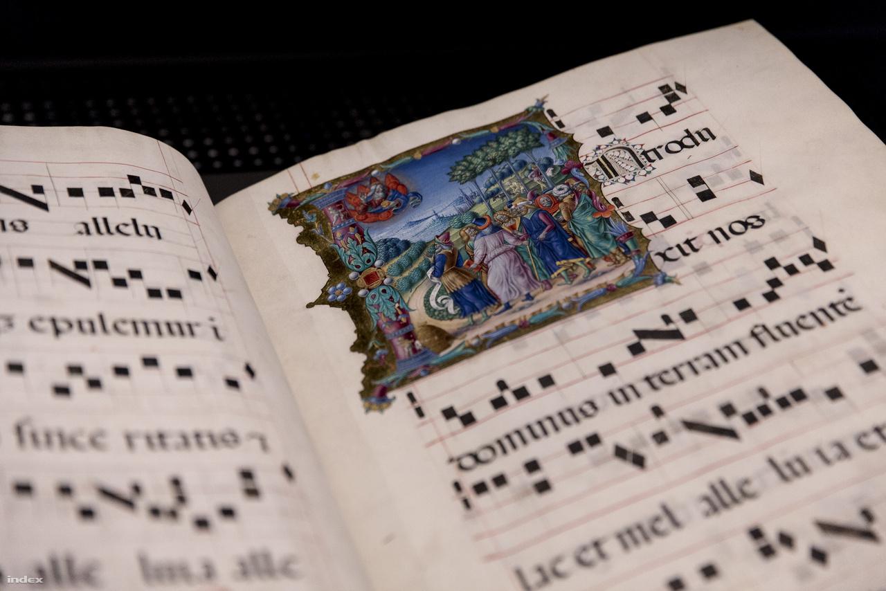 Bevonulás Kánaán földjére – a Mátyás-graduale csodás miniatúrája, feltehetően egy lombard stílusú, névtelen itáliai mester alkotása. Az 1480 körül, Budán készült liturgikus kódex nem könyvtári könyv volt, hanem templomi, vallásos, szertartási énekek kottái találhatók benne. Eredetileg 3 vagy 4 kötetes lehetett, sajnos csak ez az egy maradt fenn.