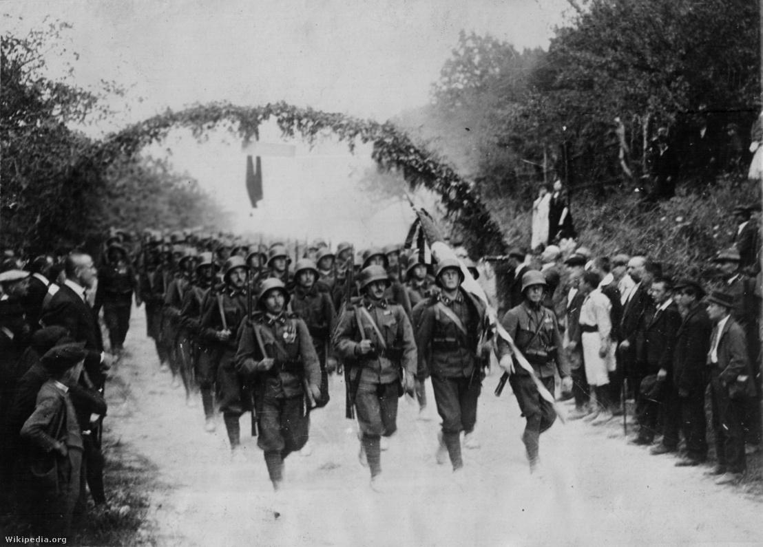 Magyar csapatok bevonulása Baranyába 1921 augusztusában