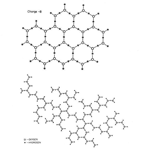 A polivíz feltételezett molekuláris struktúrája