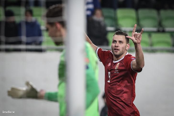 Szalai Ádám a Magyarország - Finnország mérkőzésen 2018. november 18-án.
