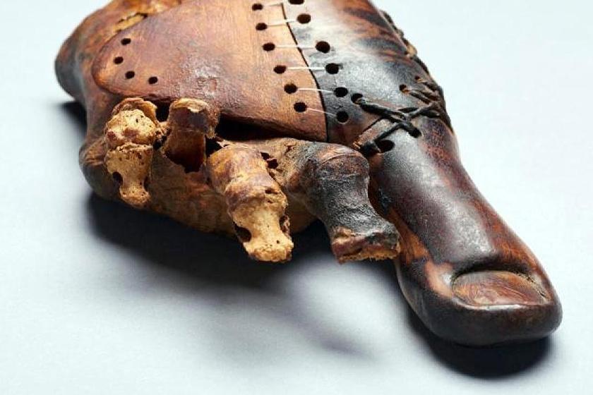 Egyiptomi lábujjprotézis Luxorból, i. e. 950-710-ből, egy múmiáról.