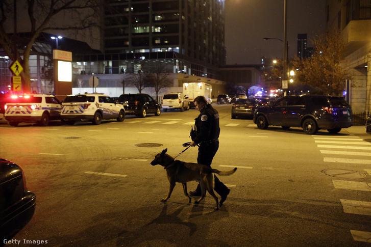 Kutyás rendőr a Mercy Hospital előtt