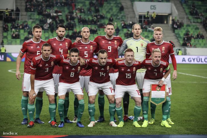Magyar válogatott a Finnország elleni meccs előtt 2018. november 18-án