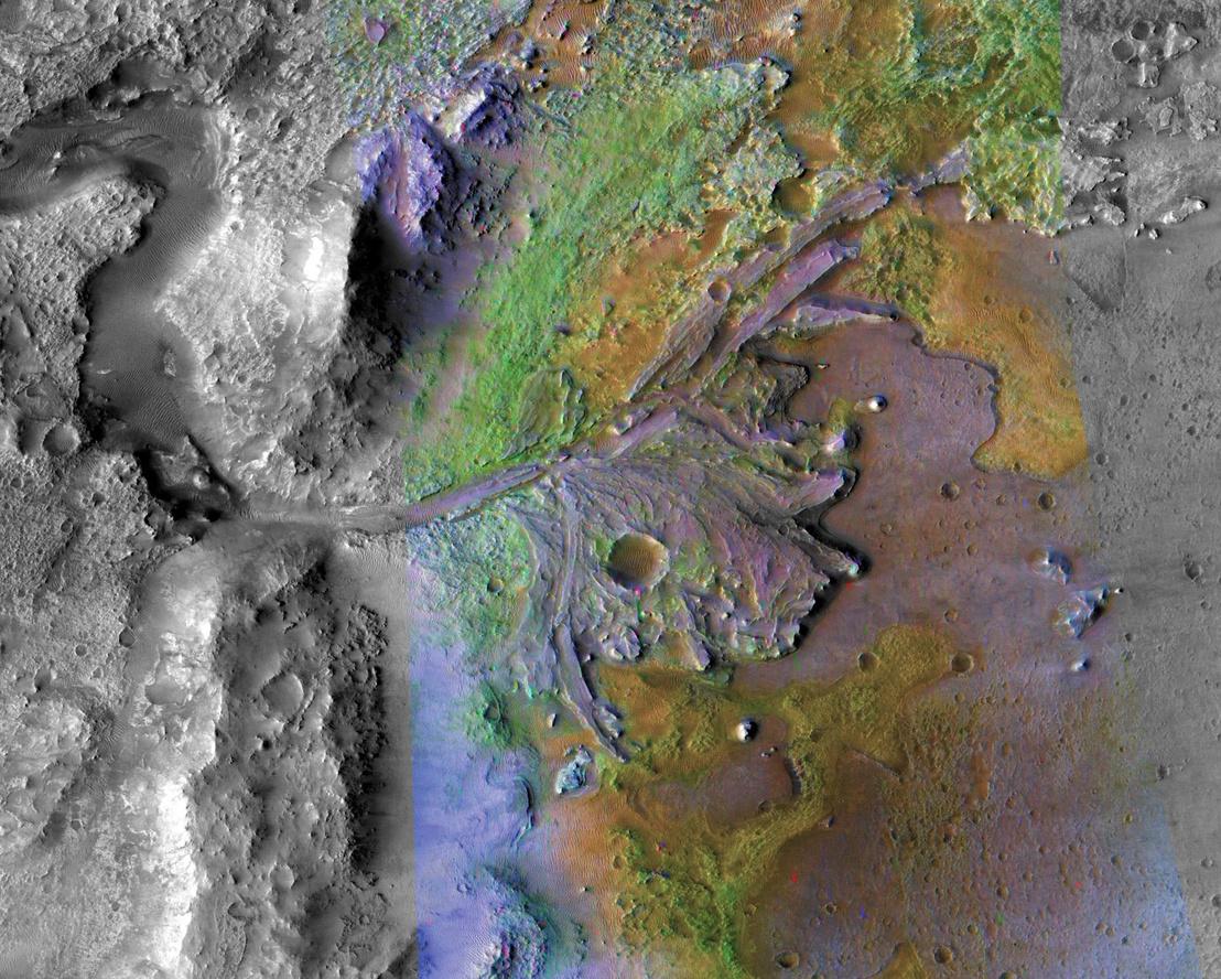A Jezero-kráter, és a benne egykor folyt víz által formált alakzatok
