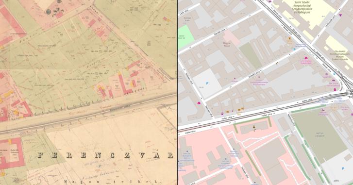 Budapest (1867-72) • Pest kataszteri térképsorozata az 1872–1920 közötti változások utólagos jelölésével