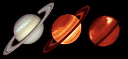 """A Szaturnusz három különböző hullámhossztartományban rögzített felvétele. A bal oldali, látható tartománybeli képet Trevor Barry ausztrál amatőr készítette 2011. január 19-én, a vihar jól kifejlett állapotában, míg a két másik felvételt az ESO VLT VISIR műszerével rögzítették két infravörös tartományban (18 μm és 8,6 μm). A középső képen inkább az alsólégkör szerkezetét lehet tanulmányozni, míg a jobb oldali kép a felsőlégkört, az általában nyugodt sztratoszférát mutatja, a vihar központi hideg részét övező jól látható emisszióval, a """"jelzőfényekkel"""". [ESO/University of Oxford/L.N. Fletcher/T. Barry]"""