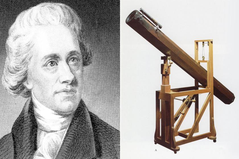 Sir William Herschel és teleszkópja.