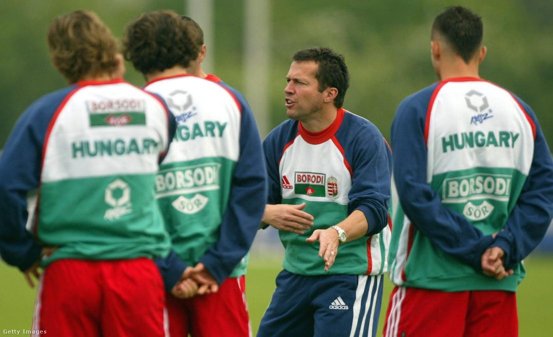 Lothar Matthäus a magyar labdarúgó-válogatott edzésén 2004. június 4-én