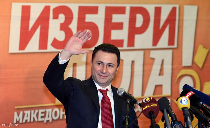 Nikola Gruevszki macedón miniszterelnök miután pártja győzött az előző napon tartott macedón helyhatósági választásokon 2013. március 25-én