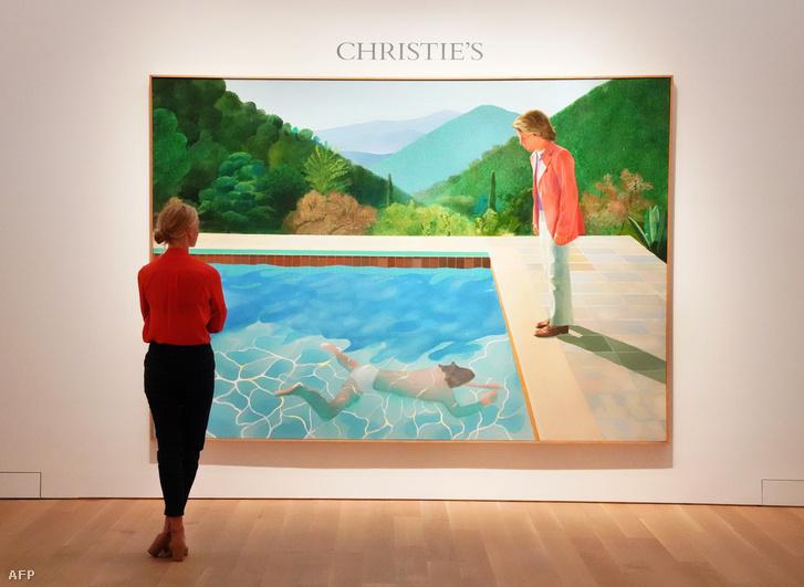 David Hockney, Egy művész portréja (Medence, két alakkal) című műve a Christie's aukciós házban