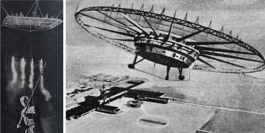 Balra: Seversky az ionocraft modelljéel. A füst mutatja a lebegő modell alatti légáramlást. Jobbra: egy múlt század közepi elképzelés az ionmeghatás hasznosítására ez a több száz embert is szállítani képes repülőgép.