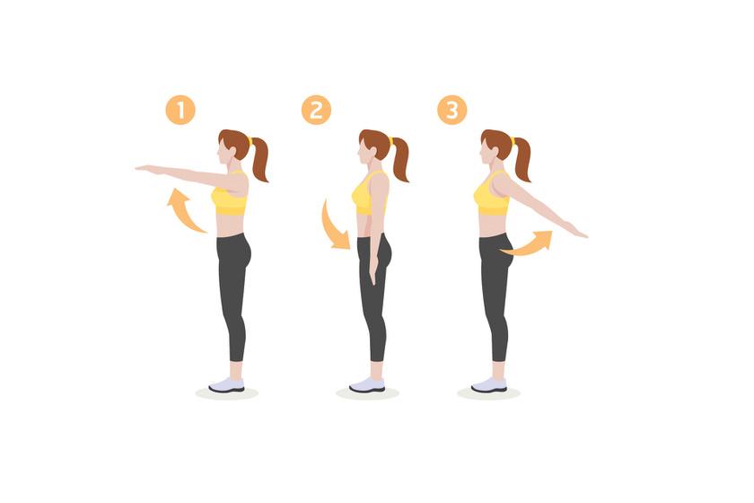 A bemelegítést érdemes a karok és a vállak megmozgatásával kezdeni. Az első gyakorlat során emeld magad elé vállmagasságban a karodat, majd engedd annyira hátra, amennyire csak tudod, miközben a törzsed nem mozdul. Ezt ismételd hússzor.