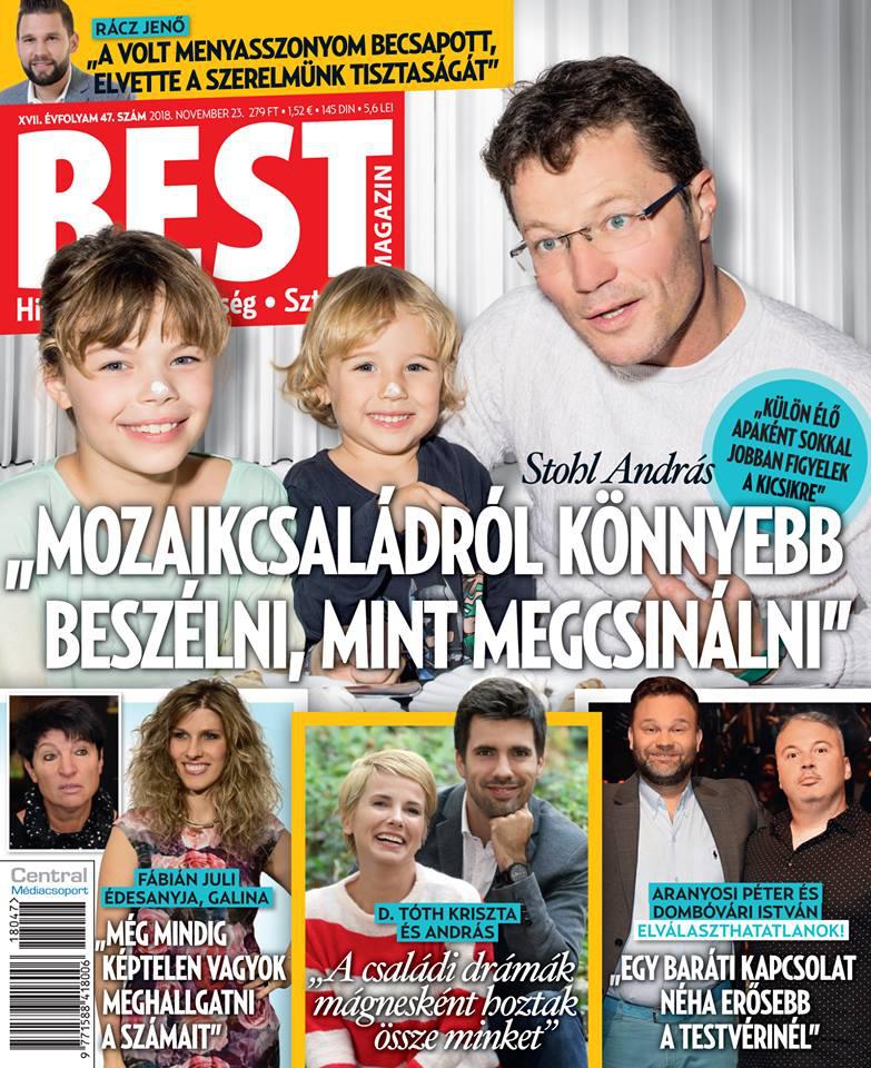 Stohl András két kisebbik gyermekével, Franciskával és az ifjabbik Andrással, Bandikával.