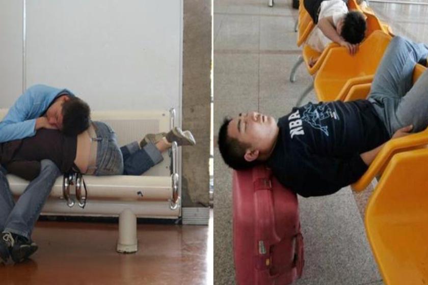 Akinek nincs párja, kénytelen a csomagjain megoldani az alvást.