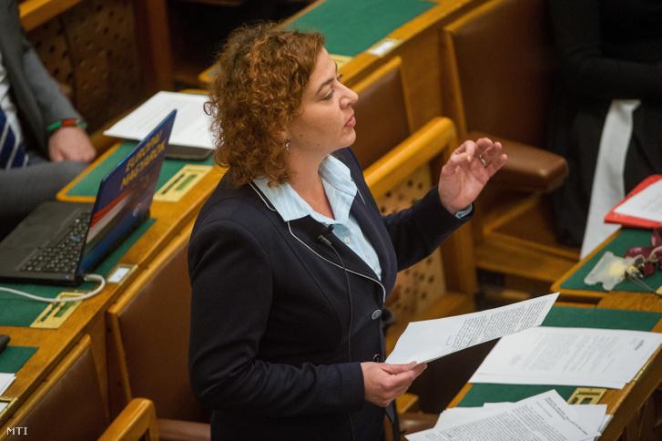 Vadai Ágnes a DK képviselője napirend előtt felszólal az Országgyűlés plenáris ülésén 2018. november 26-án.